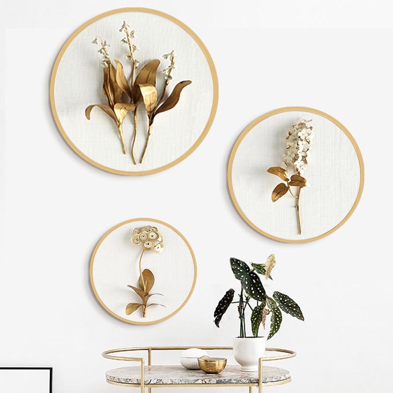 Simple modern Light luxury Decorative paintings Golden yellow flower round mural Restaurant livingroom sofa background painting