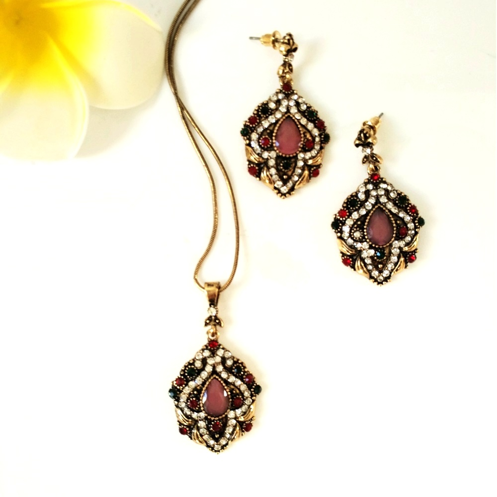Exotic fashion jewelry - Exotic Look Colorful Crystal Surrounded Pink Summer Flower Pendant And Drop Earrings Set Gold Tone Three