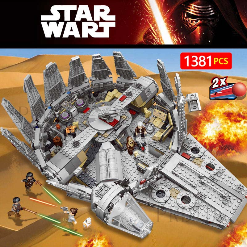 1381 piezas de bloques de construcción LegoINGLYS Star Wars halcón Milenio figuras de Star Wars modelo fuerza despierta inofensivo Brick 75105 chico juguete