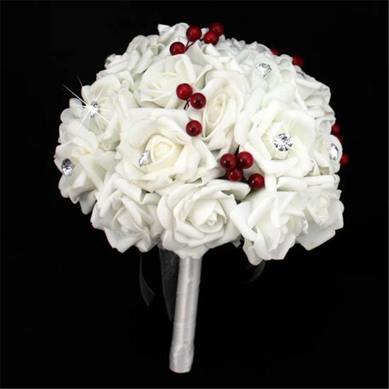 Artificial Cherry Decoration Bridesmaid Flower Wedding Bouquet Artificial Buquet de noivas Handmade Rose Crystal Bridal Bouquet  (2)