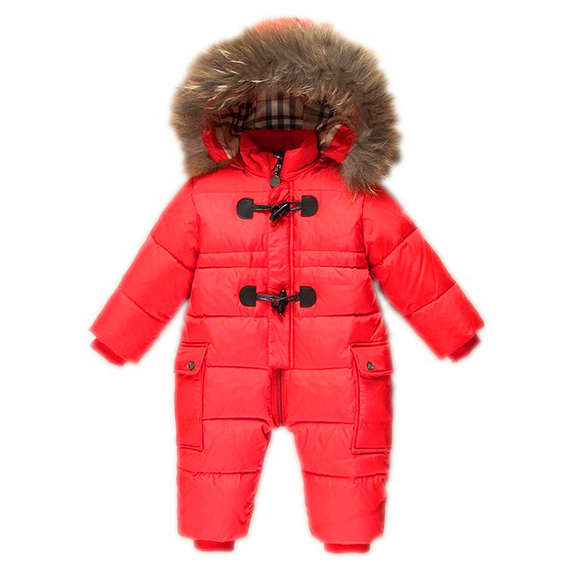 -30 Degrees Winter Duck Down Romper Baby Coat Infant Snowsuit Newborn Girls Boys Snow Wear Overalls Feather Fur Warm Thick winter baby snowsuit baby boys girls rompers infant jumpsuit toddler hooded clothes thicken down coat outwear coverall snow wear