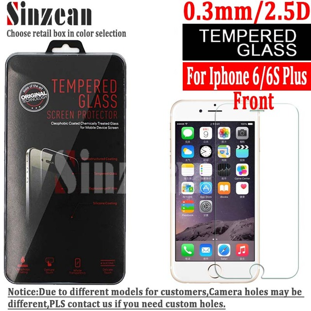 Sinzean 100PCS /lot For iphone 7 Plus Tempered Glass screen protector compatible for iphone 8 plus /6 plus
