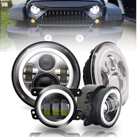 Marlaa 7 Inch Round Projectors Headlights + 30w Halo LED Fogs Light for Jeep Wrangler JK TJ Unlimited Sahara Rubicon