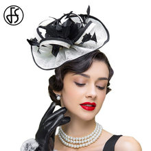 a9e513adc3283 FS Ladies Church Sinamay Hats Wedding Fedora Black White Fascinator Hat For  Women Elegant Pillbox Cocktail Derby Chapeau Femme