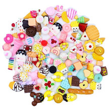 10pcs/lot DIY Mini Play Food Cake Biscuit Donuts Dolls Pretend Phone Accessories Slime Material Toy For Random