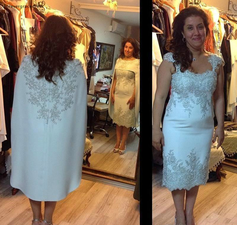 Elegant Mother Of The Bride Dresses Appliqued With Cape Formal Groom Godmother Evening Wedding Party Guests Gowns Plus Size