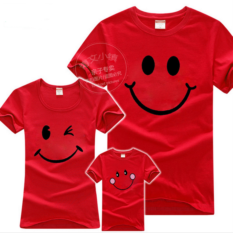New Fashion Family Look Smile T Shirts 2017 Summer Family Matching Cotton Clothes Mom Dad Son