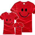New Fashion Family Look Smile T Shirts 2017 Summer Family Matching Cotton Clothes Mom & Dad & Son & Daughter Cartoon Outfits