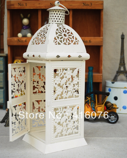 European Vintage Style Wedding Lantern Metal Candle Holder 2 colors White or Black Home Decoration Hot Selling C1016