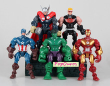 High Quality 5pcs/lot PVC Marvel Super Heroes Action Figures Iron Man/Hulk/Captain America/Thor/HawkeyeToys