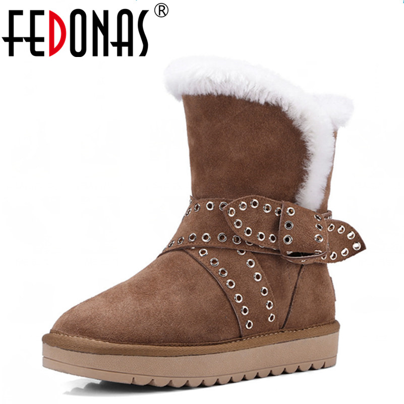 FEDONAS Woman Keep Warm Wool Snow Boots Winter Genuine Leather Shoe Sexy Flats Heels Ankle Boots Black Brown Large Size 34-43 цены онлайн