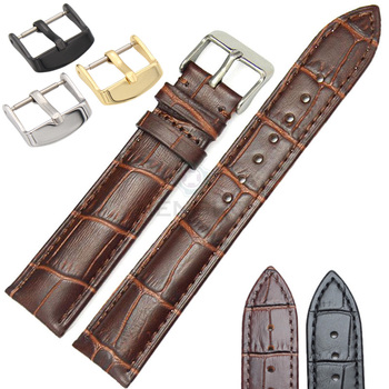 Soft Durable Watchbands Wholesale 10pcs/Set 18 19 20 21 22 24mm  Genuine Leather Watch Band Strap Brown Black Belt
