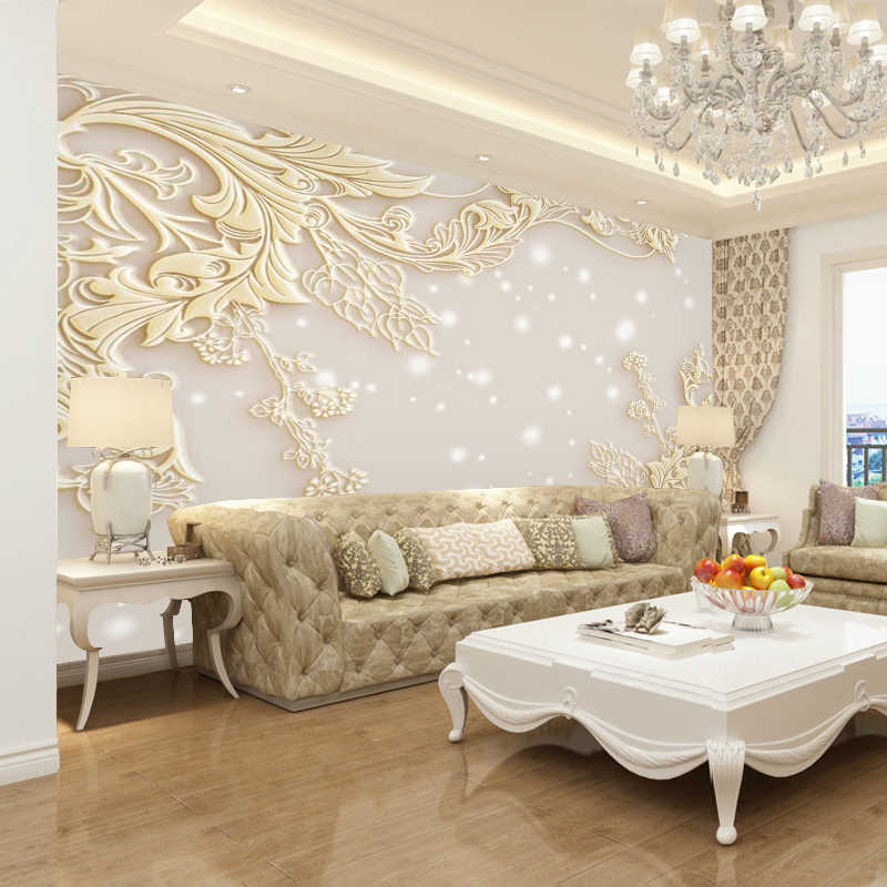 beibehang Custom wallpaper 3d mural European Style Living Room Relief Television Wallpaper Mural Simple Modern Luxury wall paper