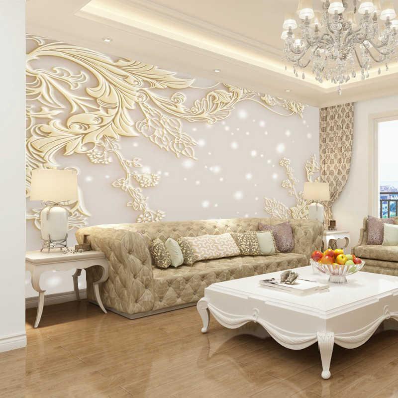 Beibehang מותאם אישית טפט 3d ציור קיר בסגנון אירופאי סלון הקלה טלוויזיה טפט קיר פשוט מודרני יוקרה קיר נייר