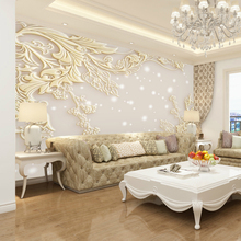 цены Customized European Style 3D Stereo Living Room Bedroom Relief Television Wallpaper Mural Simple Modern Luxury TV Backdrop