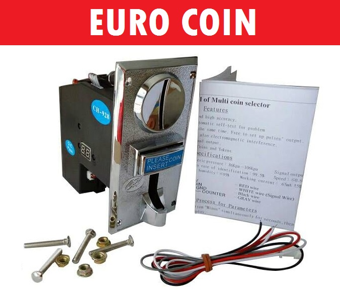 EURO 10,20,50, 1,2 JY926A pulse output multi coin selector acceptor for 6 different coins for vending machine, game machine good quality coin operated tabletop gumball vending machine desktop capsule vending cabinet toy penny in the slot coin vendor
