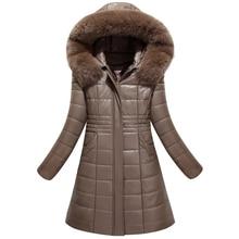 Best quality 2017 winter leather coat female medium long parka jacket hooded large fur collar leather clothing Plus Size L-8XL