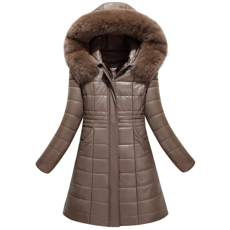 Best quality 2017 winter leather coat female medium long ...