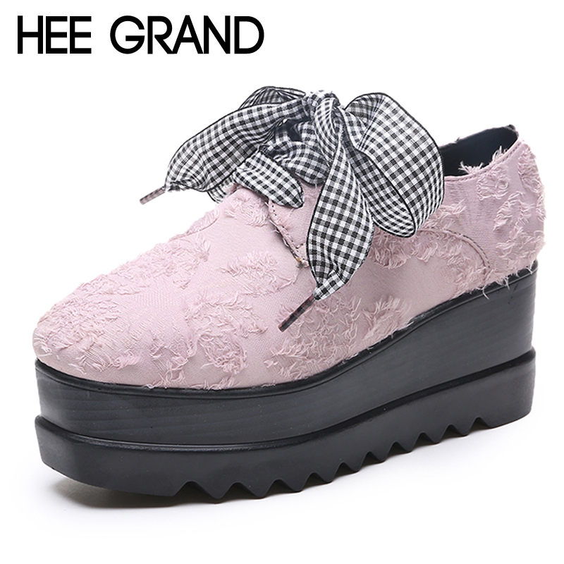 HEE GRAND Platform Brogue Shoes Lace-Up Synthetic Women Oxfords Creepers Spring Fashion Flats Loafers Shoes Woman XWX6791 hee grand 2017 creepers platform casual shoes woman lace up oxfords spring flats fashion solid women shoes xwd4890