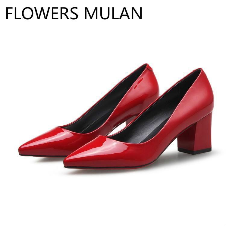 Bling Red Black Leather High Square Heels Lady Pumps Pointed Toe Concise Designers Shoes Woman Shallow Office Zapatos De Mujer