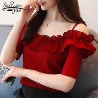 Мода 2019 сексуальная slash шеи Женская одежда с коротким рукавом шифон Женщины блузка рубашка милые летние женские топы blusas D825 30