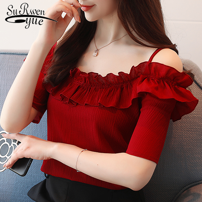 fashion 2019 sexy slash neck women' s clothing short sleeve chiffon women   blouse     shirt   sweet summer women tops blusas D825 30