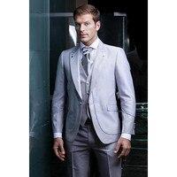 Lucido grigio argento smoking 2017 Vendita Calda One Button Smoking Nozze Groomsman Vestito Da Sposa GroomBest Mens Suits 3 Pezzi A053