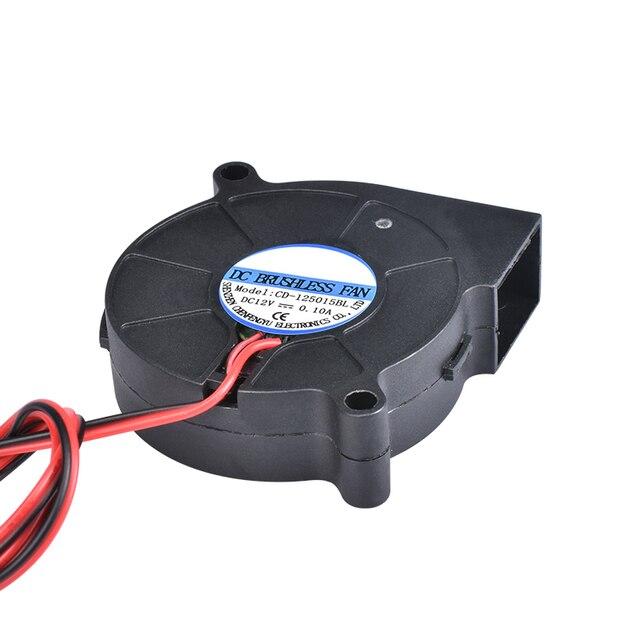 3D Printer Parts 5015 Blower Fan 12V 24V 0.1A Turbo cooling fan 5cm 50x50x15mm 5015/4010/3010 5V Black Plastic Fans For Extruder 1