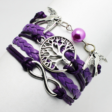 2015 fashion women jewelry Purple Imitation pearl double birds Doves Cute Silver Tree love cuff leather Braid bracelet bangle
