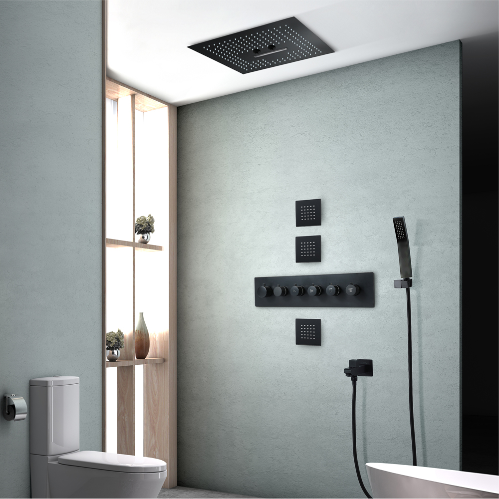 Thermostatic Shower Set Rainfall Showerhead Bathroom Remote Control Led Ceiling Black Shower Faucets Waterfall
