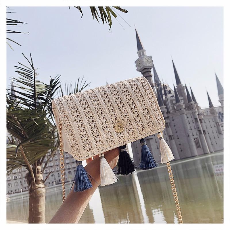 Handbag 2018 New Money Tidal Knitting Tassels Straw Bags Korean Edition  Chain Single Shoulder Slant Bag Straw Package-in Shoulder Bags from Luggage  &