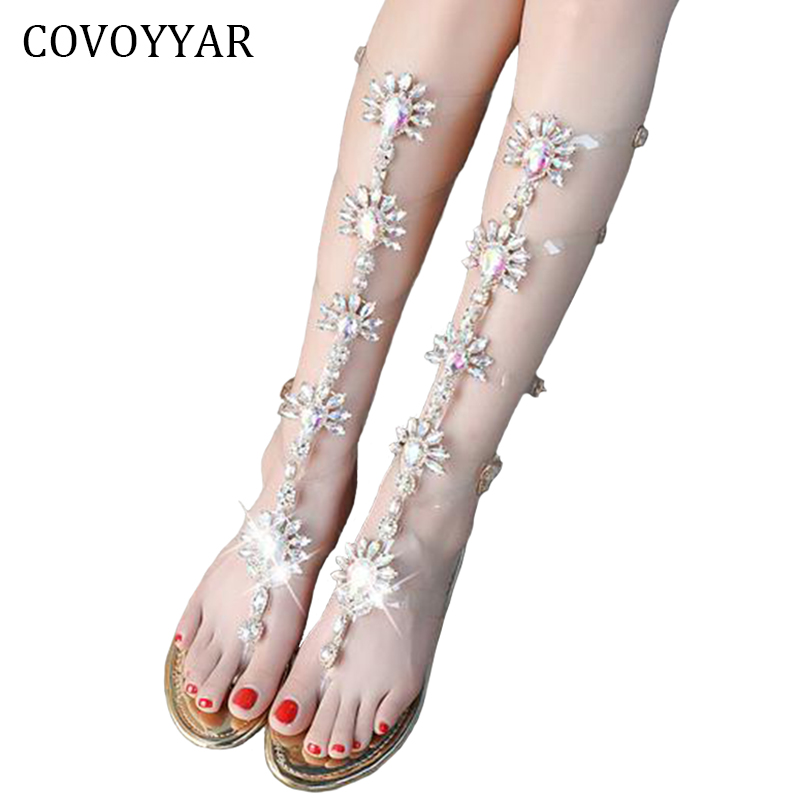 COVOYYAR Hot Gladiator Women's Sandals 2019 Summer Luxury Rhinestone Lady Sandals Bohemia Buckle Strap Beach Golden Shoes WSS919
