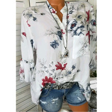 5XL Autumn Women Chiffon Blouses Casual Flower Print Long Sleeve Stand Neck Tops OL Shirts blusas feminina plus size
