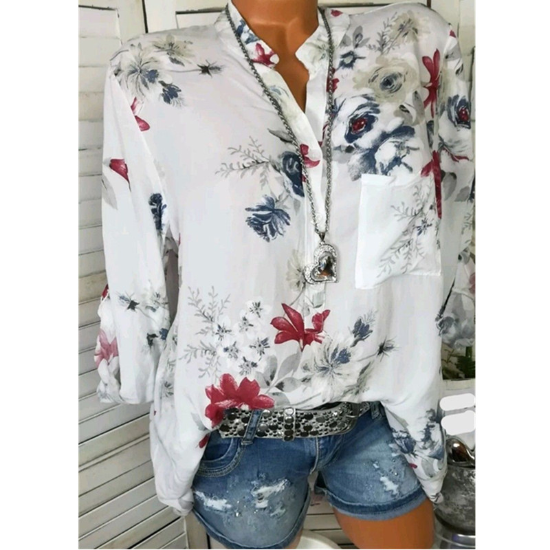 5XL Autumn Women Chiffon   Blouses   Casual Flower Print Long Sleeve Stand Neck Tops OL   Blouses     Shirts   blusas feminina plus size