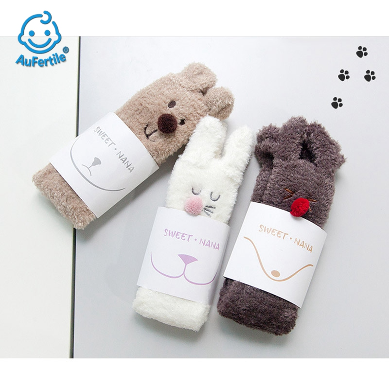 Lovely Cartoon Elk Coral Velvet Home Floor Socks Winter Thicker Keep Warm High Quality Female Socks In The Tube Sleep Socks starfish conch coral velvet floor area rug