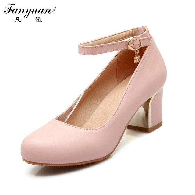 2017 Sexy Square High Heel Woman Solid Pumps Lady's Sexy Casual Retro Round Toe Buckle Ankle Strap Pumps Dress Shoes Hot Sale