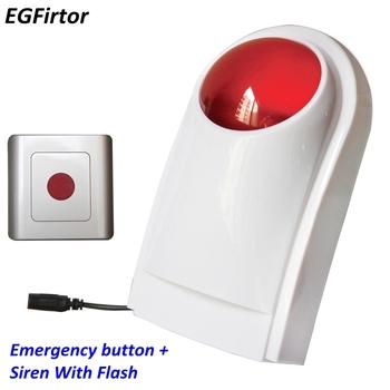 Wysokiej jakości w podeszłym wieku System alarmowy toaletę dla niepełnosprawnych bezprzewodowy System alarmowy przycisk 120Db syrena z Strobe bezpieczeństwa System alarmowy tanie i dobre opinie HS-1103E EGFirtor DC12V Wireless 0 5A White+Red 250mA 2 Years Wireless Alarm Detector Strobe With Remote Controller 433MHz 315MHz