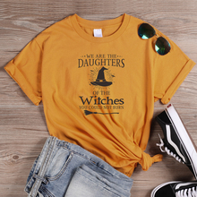 ONSEME We Are The Daughters Of Witches Letter T Shirt Female Halloween Shirts Basic Cotton Tees Harajuku Witch Graphic Top
