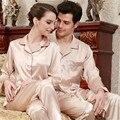 Любовник шелковые пижамы новый бренд пара комплект мода дома ночная пижамы весна осень атласные пижамы комплект