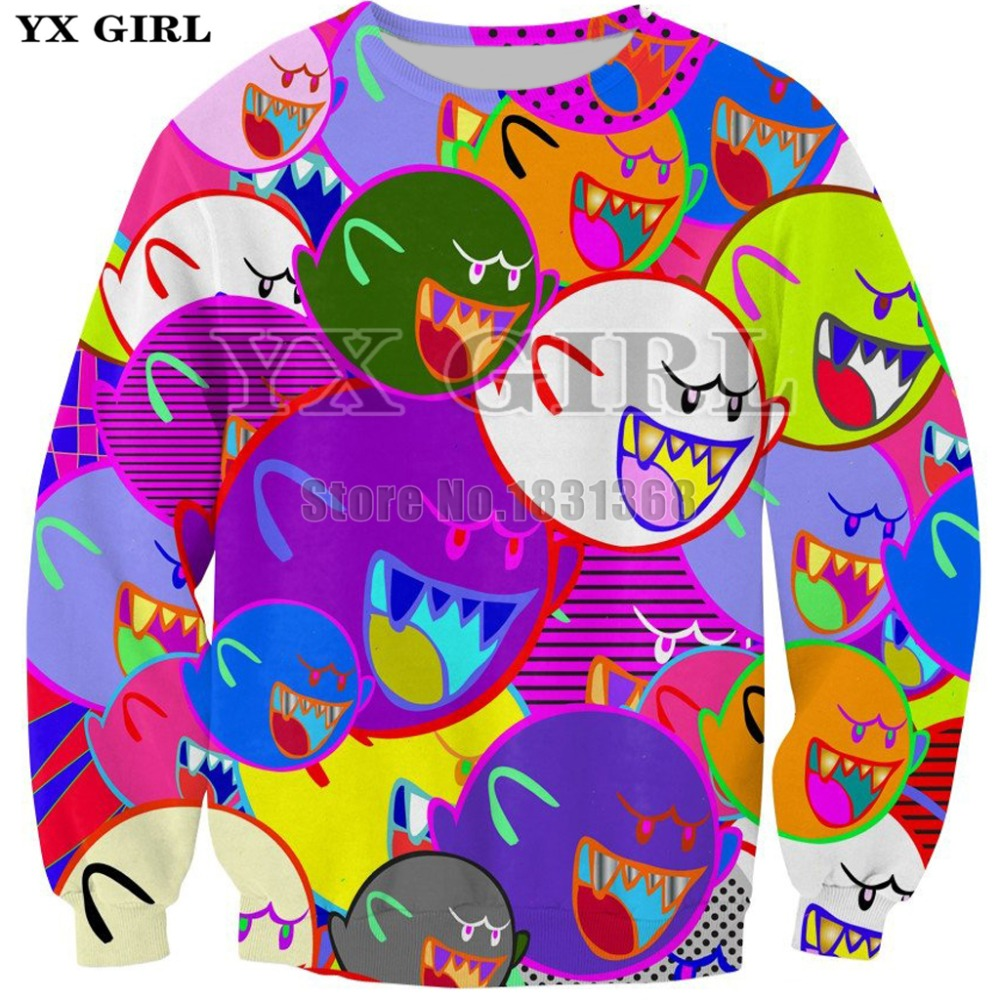 YX GIRL funny Sweatshirt Women Men Long Sleeve 3d print Pullovers Boo hoodies Brand Clothing size S-5XL Drop shipping