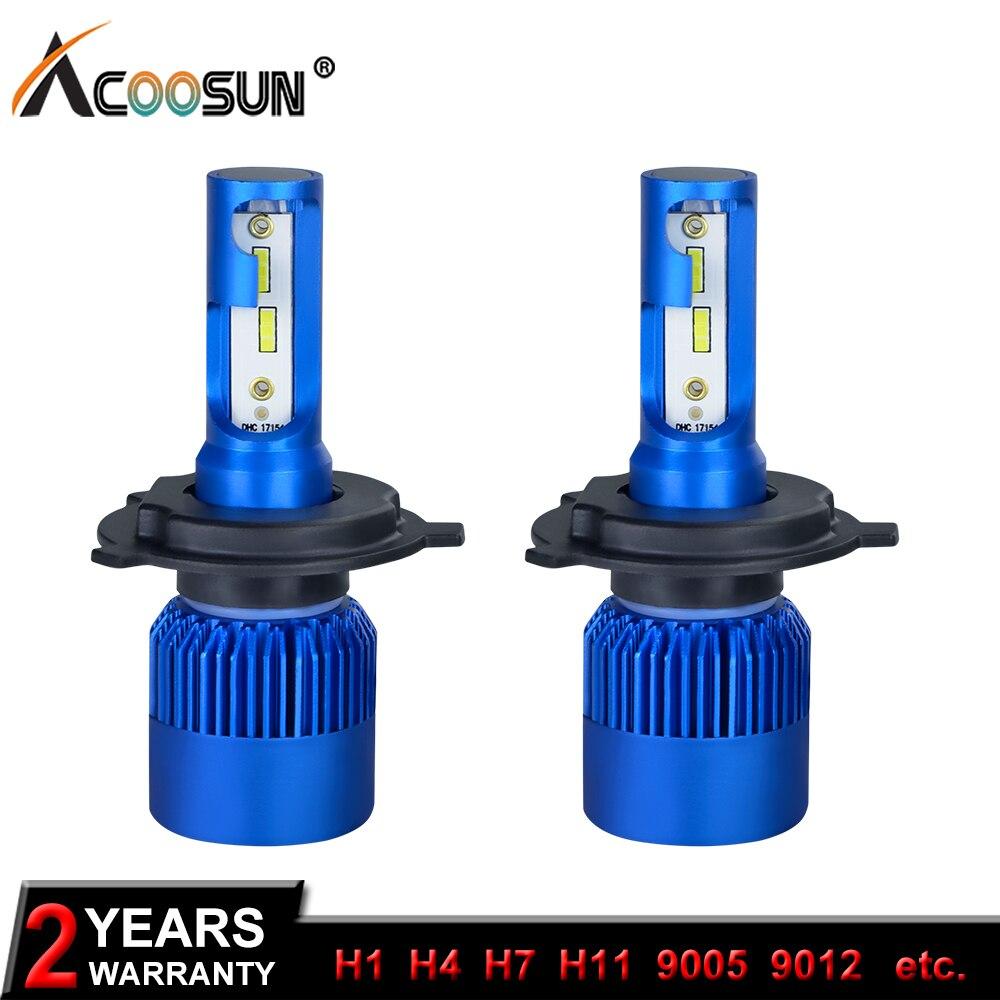 AcooSun H4 Led Car Headlight H7 Led Bulbs H1 H8 H9 H11 HB4 HB3 9006 9005 CSP Chips 10000LM 72W 6500K 12V Car Light Auto Fog Lamp