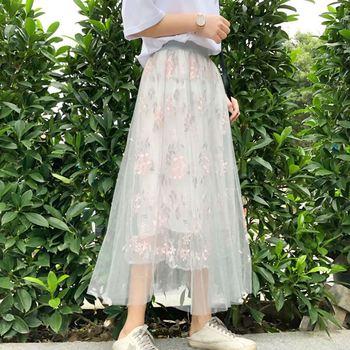 7081ce14c26 3 слоя Для женщин s летняя юбка миди тюль юбки женский онлайн Высокая талия  плиссированные юбки