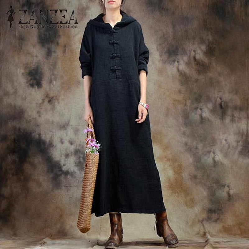 d51eee1cf48 ZANZEA мода 2018 г. для женщин осень платье с длинным рукавом Национальный  Ветер Длинные Vestidos