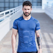 Summer Men Sweatshirts Quickly Dry Short Sleeve T-shirts Running Tights Male Jogging Casual Fitness Gym Yoga Shirt Sportswear