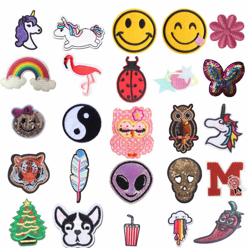 Suitable for Children Cute Cartoon Small Animal for Clothes Sticker Cars Owl Unicorn Kids DIY Sewing Embroidered Patches Vinyl E