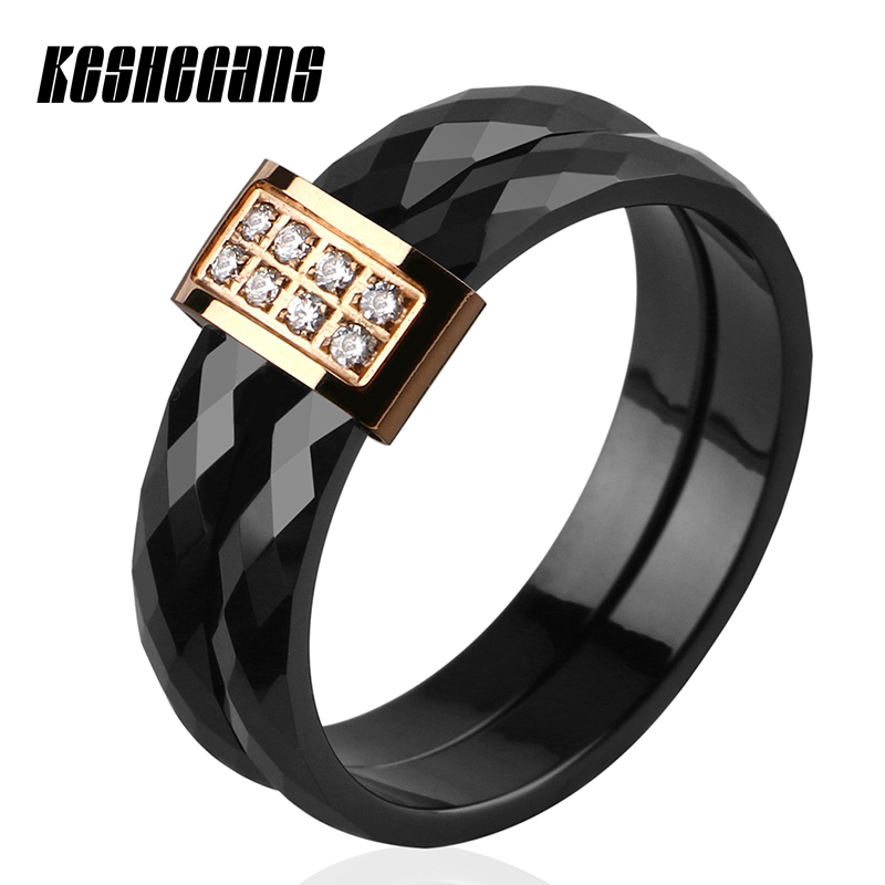 купить New Arrival Engagement Crystal Double Ceramic Ring Black White For Couples Men Women Rose Gold 6mm Wedding Ring Fashion Jewelry