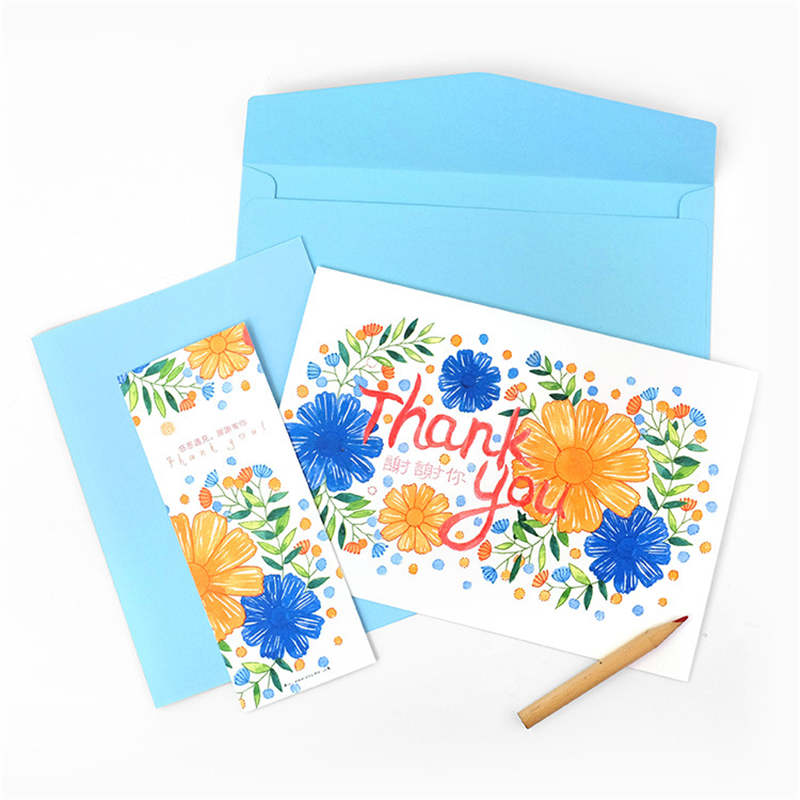 DoreenBeads Hand-painted Cards Flower Thank You Party Wedding Thanksgiving Day Invitations Gift For Lover Family 1Set one night ultimate werewolf english cards board game for party family fun