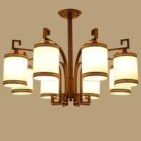YOOK 8 огни Светодиодный Люстры китайский Утюг Имитация Медь Люстра для Гостиная люстра лампа E14 220 В