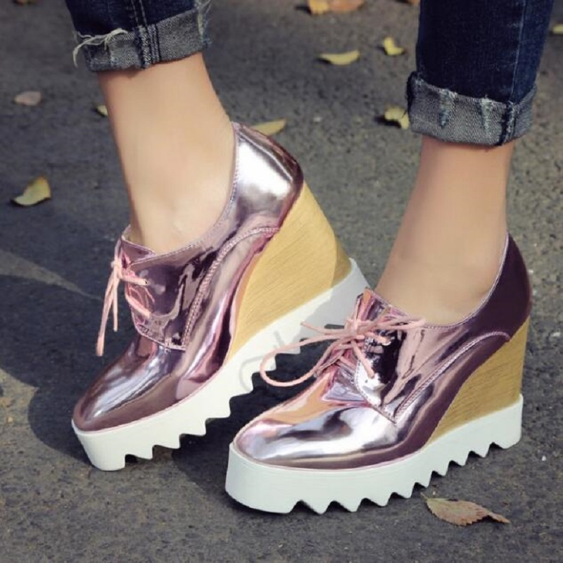 Bling Patent Leather Oxfords 2016 Wedges Gold Silver Platform Shoes Woman Casual Creepers Pink High Heels High Quality DXM0827 phyanic gold silver wedges sandals 2017 new platform casual shoes woman summer buckle creepers bling flats shoes phy4040