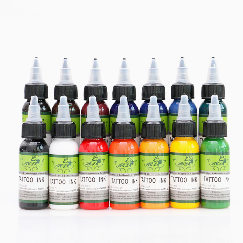 Wholesale New Tattoo Ink Fusion 14 Colors Set 30ml Bottle Tattoo Pigment Kit Beauty tools Body makeup Eyebrow ma 16pcs tattoo ink fusion tattoo inks 16colors set 1 oz 30ml bottle tattoo pigment kit for 3d makeup beauty skin body art
